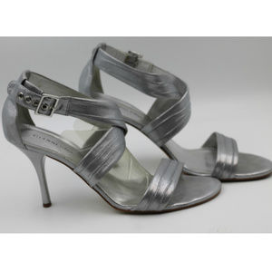 Metallic SILVER shiny Strappy Stilletto Heels 11